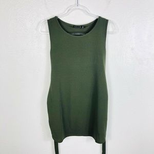 Boohoo Size 6 Small Green Sleeveless Tie Top